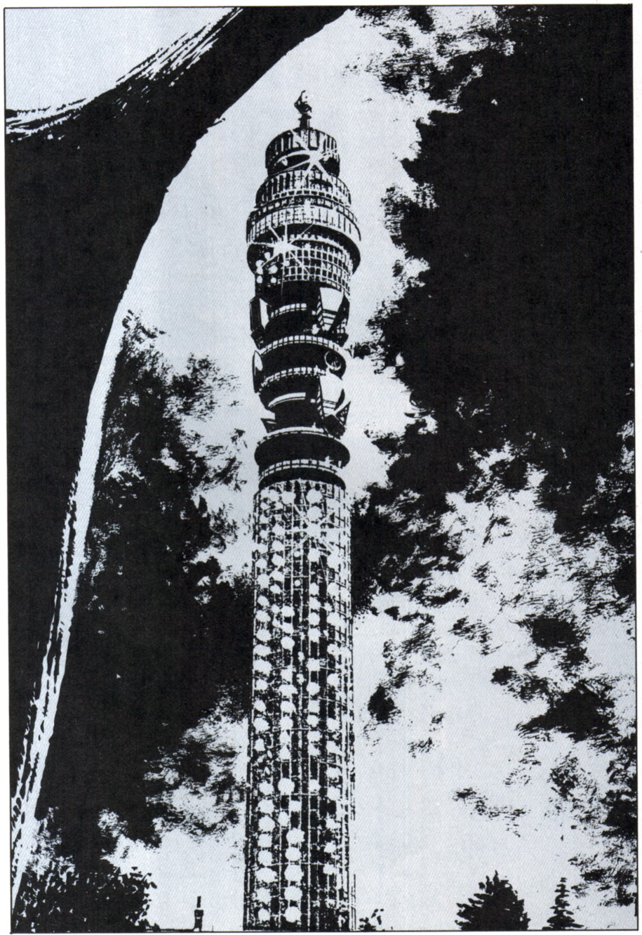 One of David Lloyd's woodcut-style pieces from 1988's V For Vendetta, in which Moore re-imagined the BT Tower as a surveillance HQ for the fascist British government of far-off 1997.