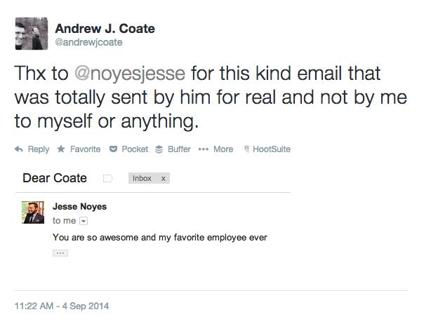 Jesse Noyes thinks Andrew J. Coate Rules