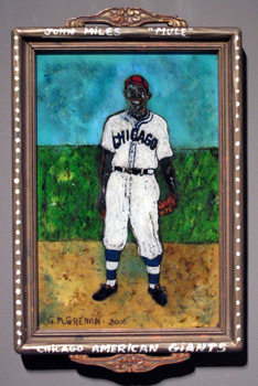 MULE (JOHN MILES CHICAGO AMERICAN GIANTS NEGRO LEAGUE) Oil paint on glass  15.25 x 9.5 x 1.5""