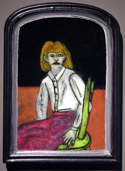 WAITING FOR YOU TO FOLLOW ME Oil paint on glass  21.75 x 16 x 2.5""