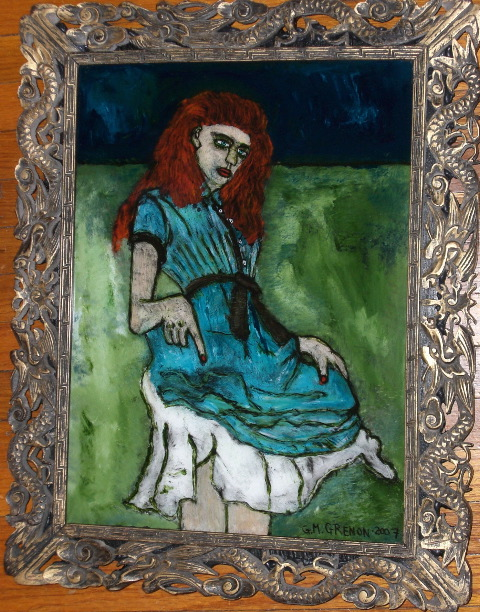 DON'T LITTLE GIRL ME Oil paint on glass  18.25 x 14.5 x 1.25""