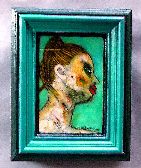 THE INVITATION Oil paint on glass  17.75 x 14 x 5.5""