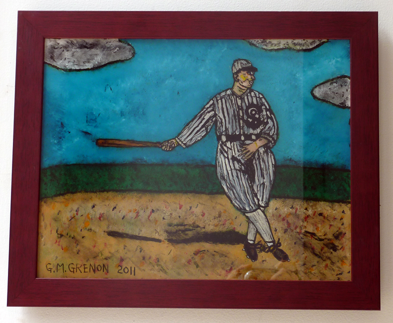 EDDIE COLLINS-WHITE SOX Oil paint on glass  13.25 x 16.25""