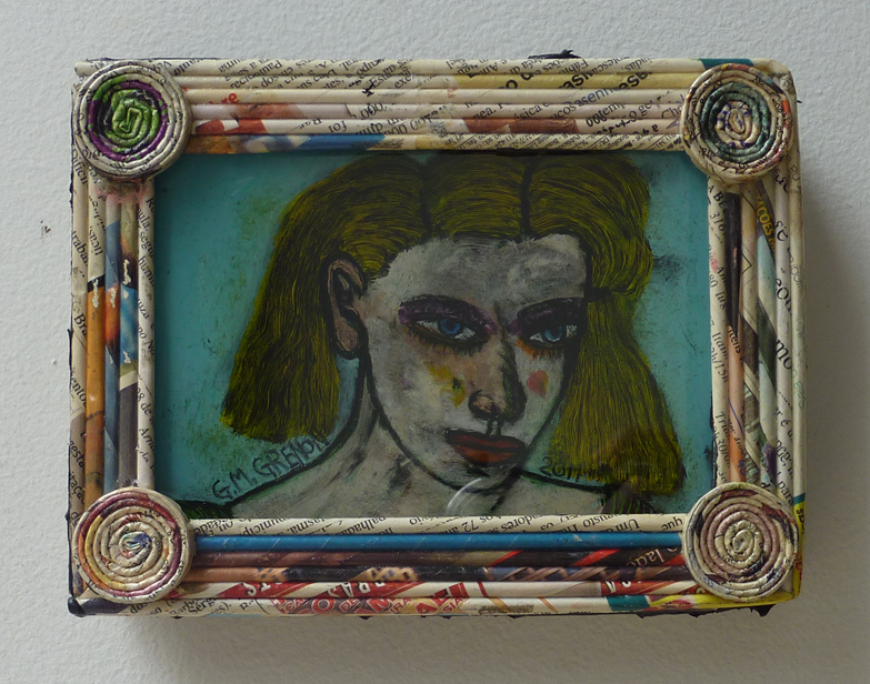NO ONE SCARES ME Oil paint on glass  6.5 x 5""