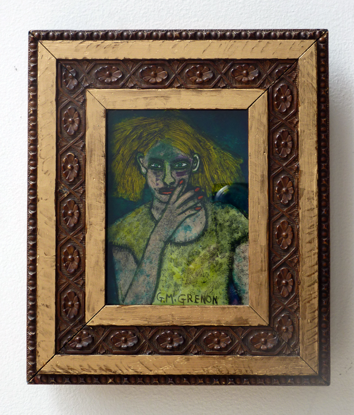 BEAUTY ALONE Oil paint on glass  9 x 7.75""