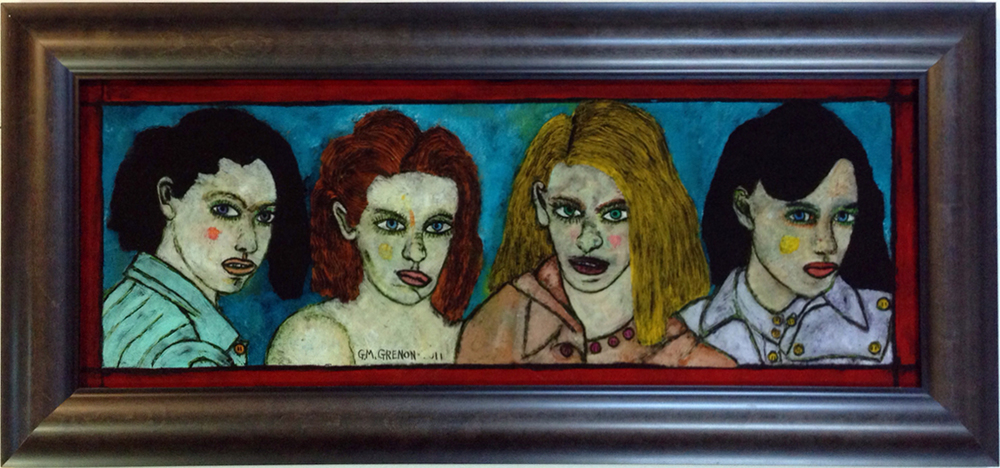 GIVE US YOUR ABSENCE Oil on glass  17.5 x 37""