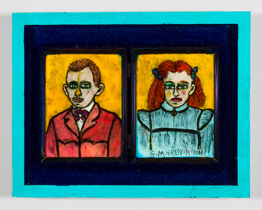 BOY AND GIRL Oil paint on glass  7 x 9""