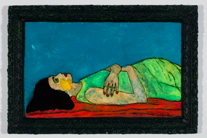 PRONE WOMAN Oil paint on glass  14.75 x 21.5""