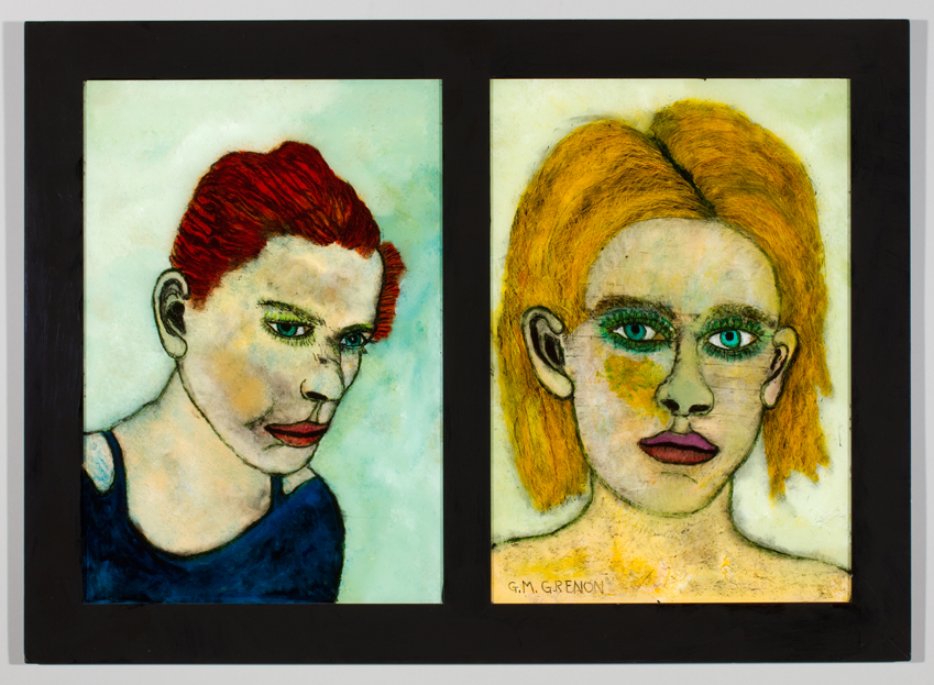 TWO SILENT WOMEN Oil paint on glass  27 x 37.25""
