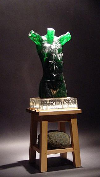 """MAQUETTE FOR COUNTING NO. 1 Cast glass and mixed media  26 x 8 x 8 """""""