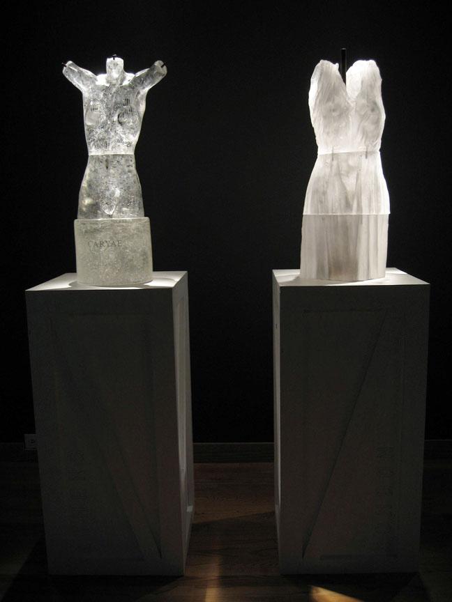 """CARYAE Cast glass, mixed media  65.5 x 17.5 x 17.5"""""""