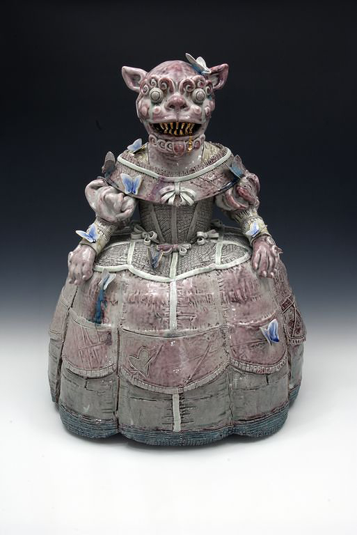 MADAME OF THE GUARDS Soda fired stoneware, glazes  26 x 20 x 15""