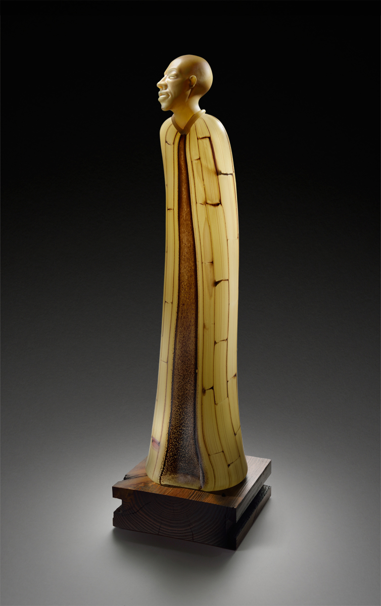TOBACCO ROBE Glass with wood base  25 x 7 x 7""