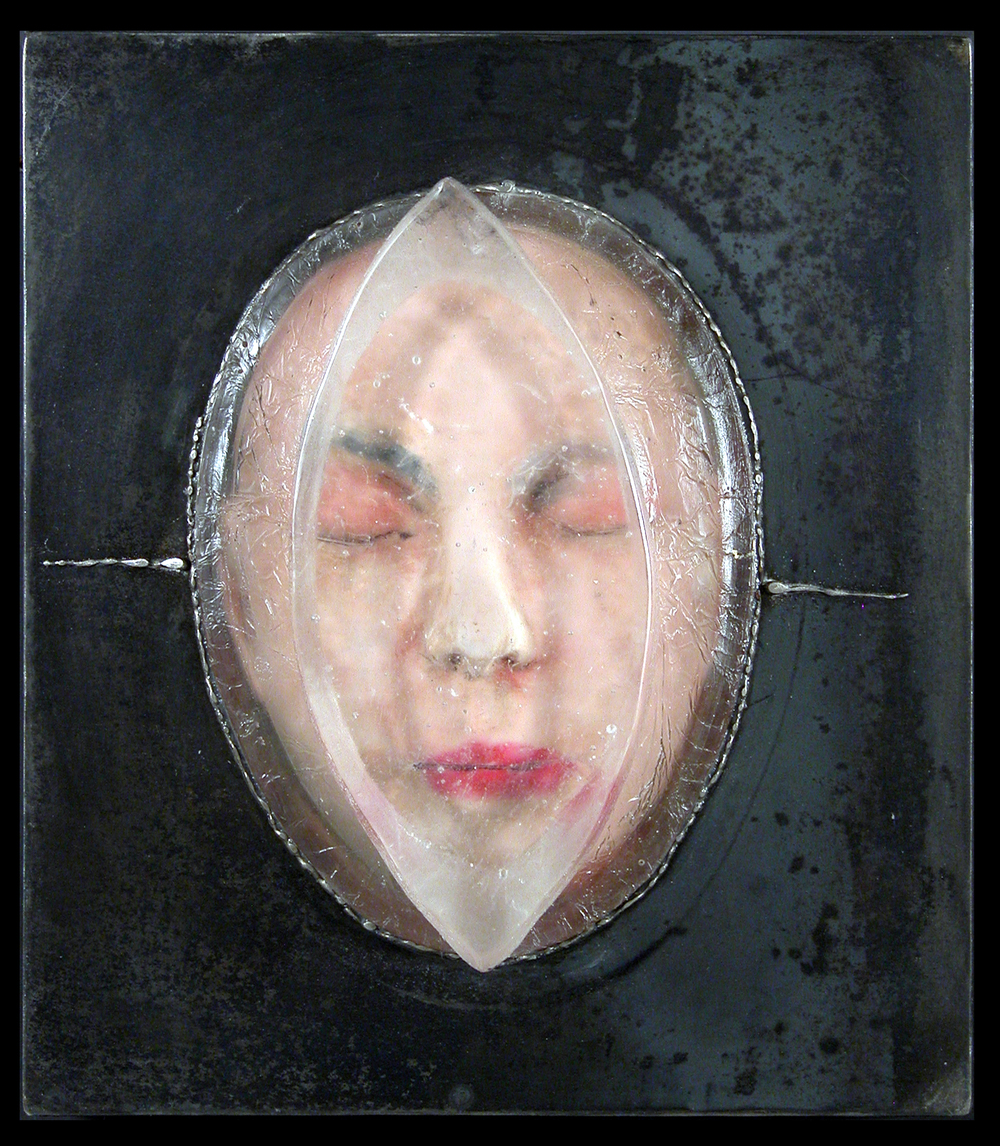 UNTITLED (WAITER HEAD) Cast glass, steel, oil paint  15 x 13""