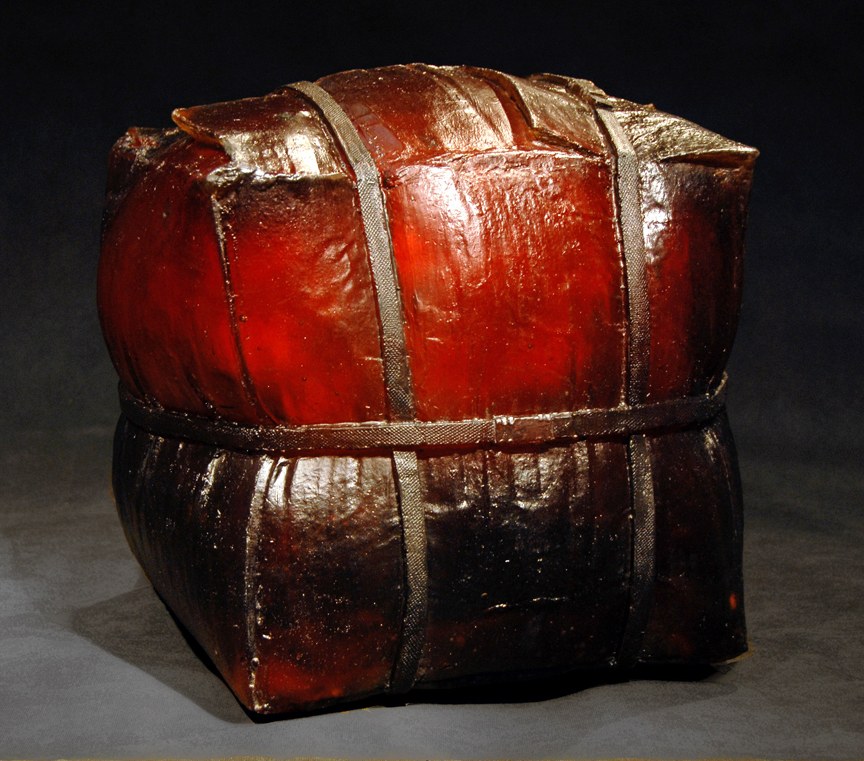 UNTITLED (MEDIUM AMBER BOX) Cast glass  16 x 15 x 16""