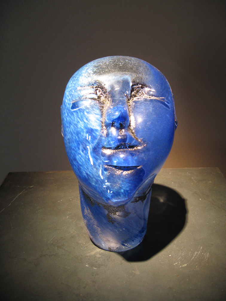 BLUE IV Blown, hot sculpted glass  8 x 3.75 x 4.25""