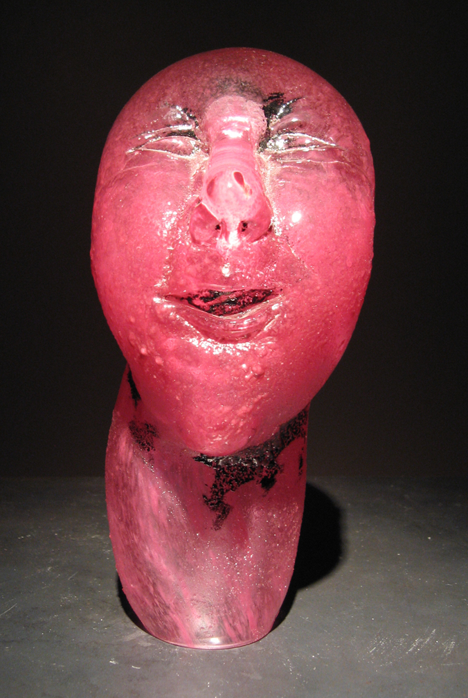PINK Blown, hot sculpted glass  8.75 x 3.25 x 4""