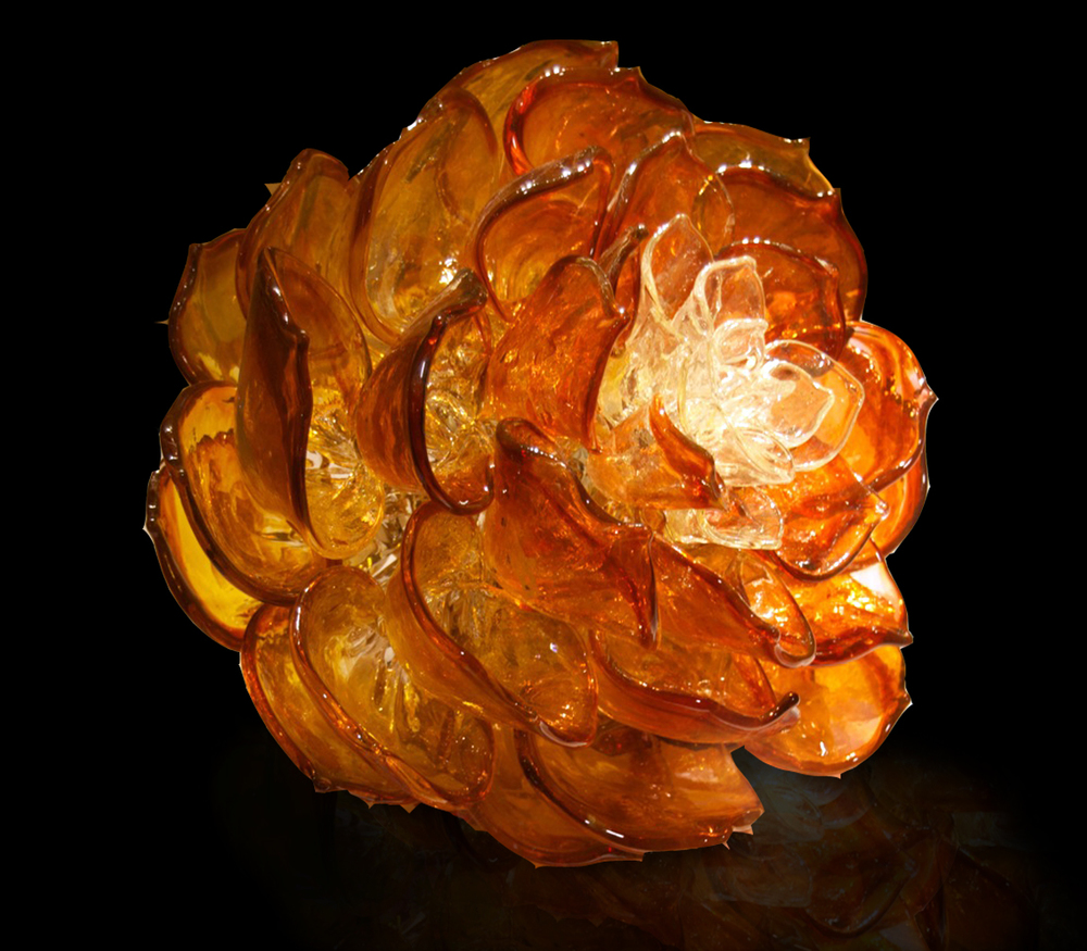 AMBER LOTUS Hot sculpted glass  13 x 16 x 16""