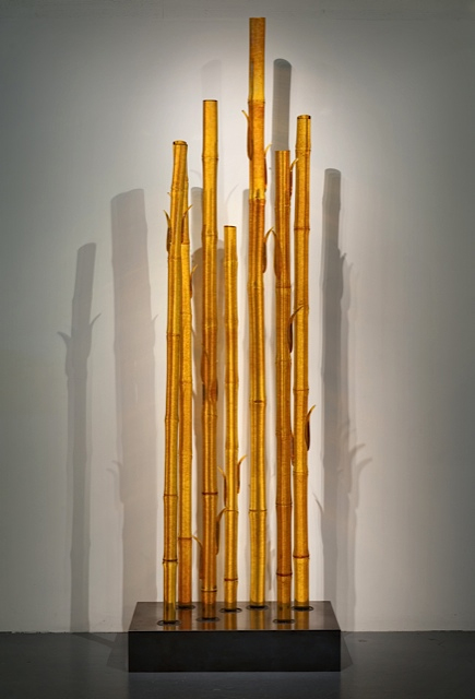 TOPAZ BAMBOO Blown glass, steel stand  96 x 30 x 18""