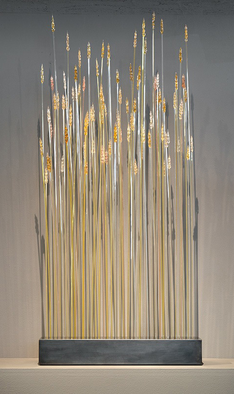 WHEAT Blown glass, steel stand  44 x 20 x 5""