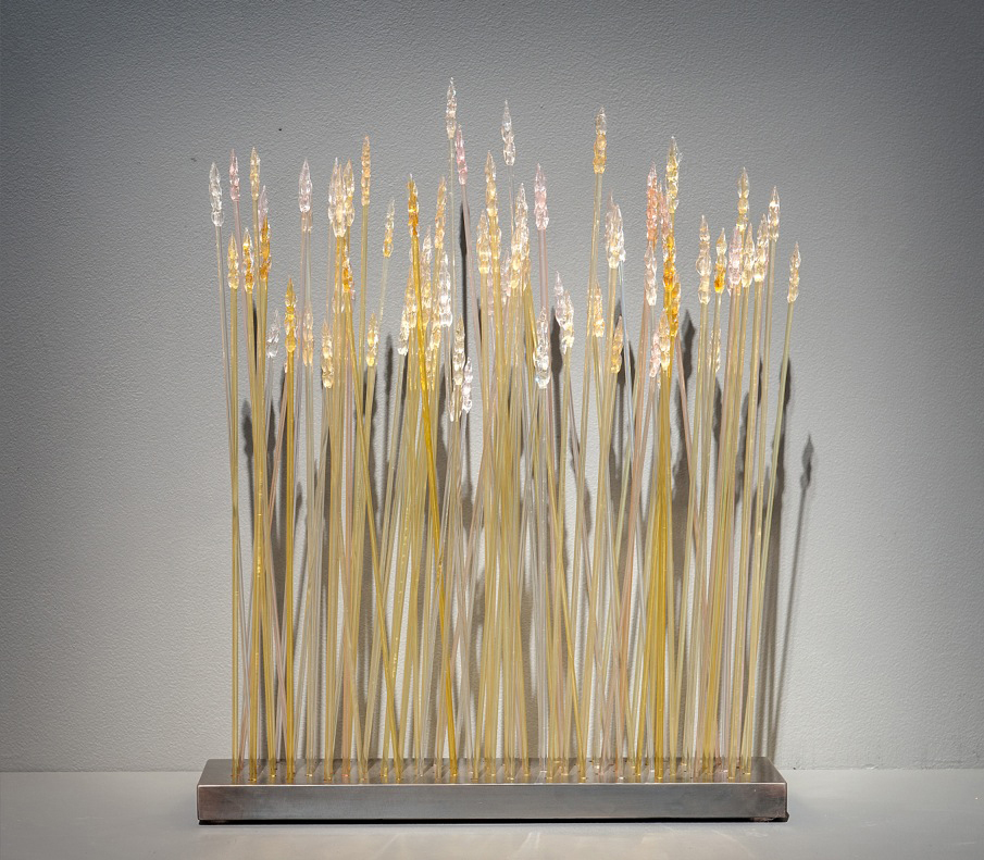 MINIATURE WHEAT Blown glass, steel stand  24 x 16 x 4""