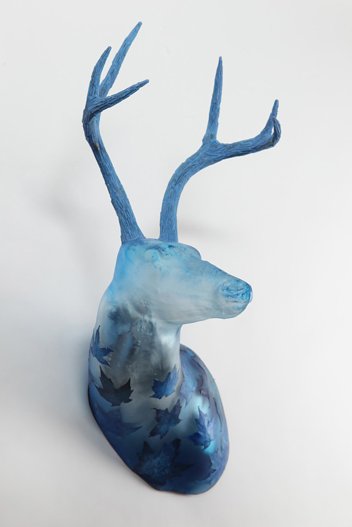 BLUE MAPLE Blown glass deer, mosaic antlers  29 x 18 x 18""