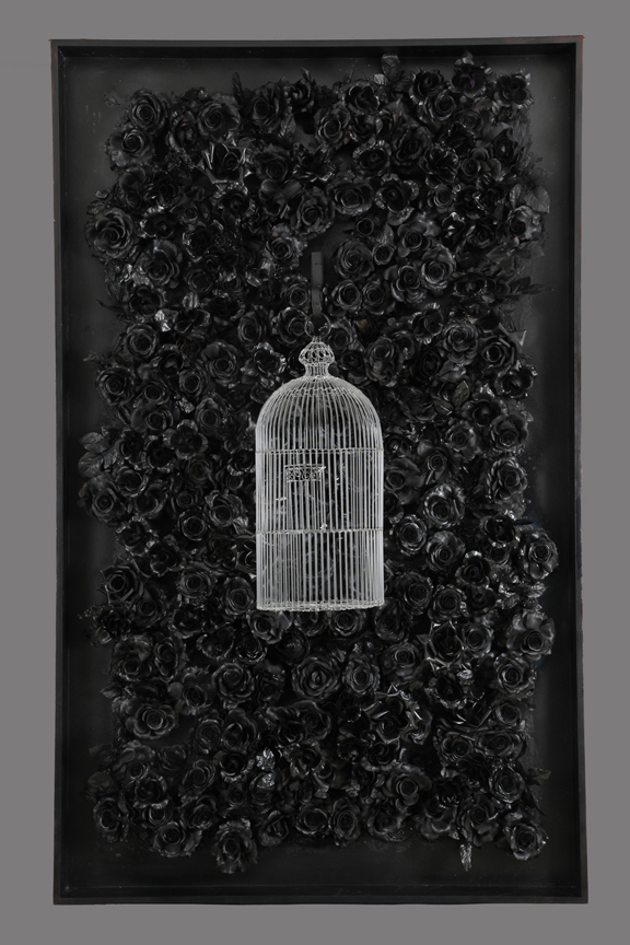 UNTITLED (ARCHEOLOGY OF THE THIRD MILLENNIUM)  Glass cage, mixed media  78 x 49.5 x 16""