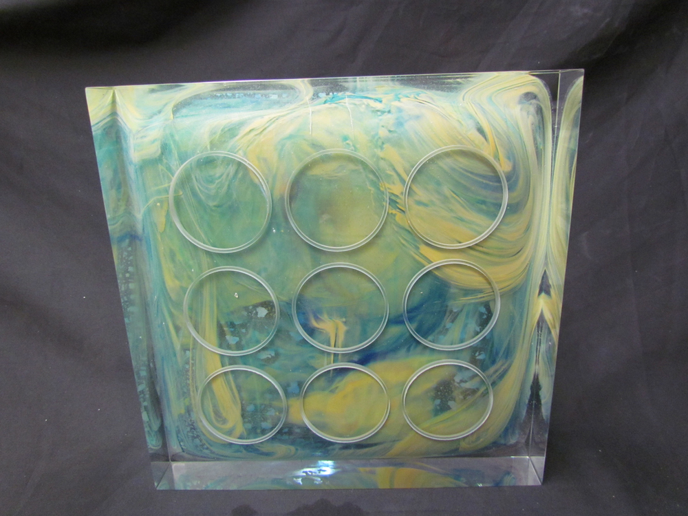 SQUARE MANDALA Cast glass, steel stand  14 x 14 x 3""