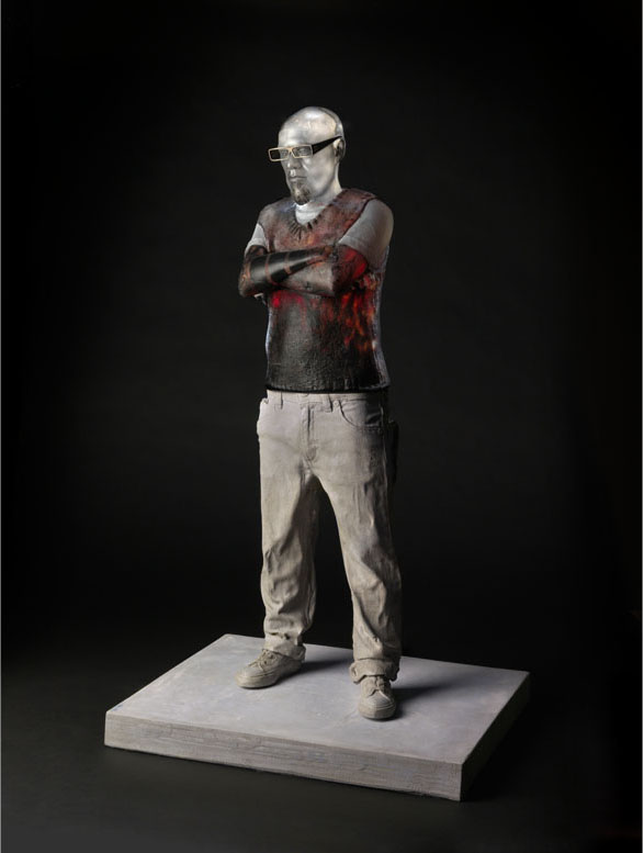 TATTOOED GABE Mold blown glass, oil paint, cement, steel  38 x 22 x 18""