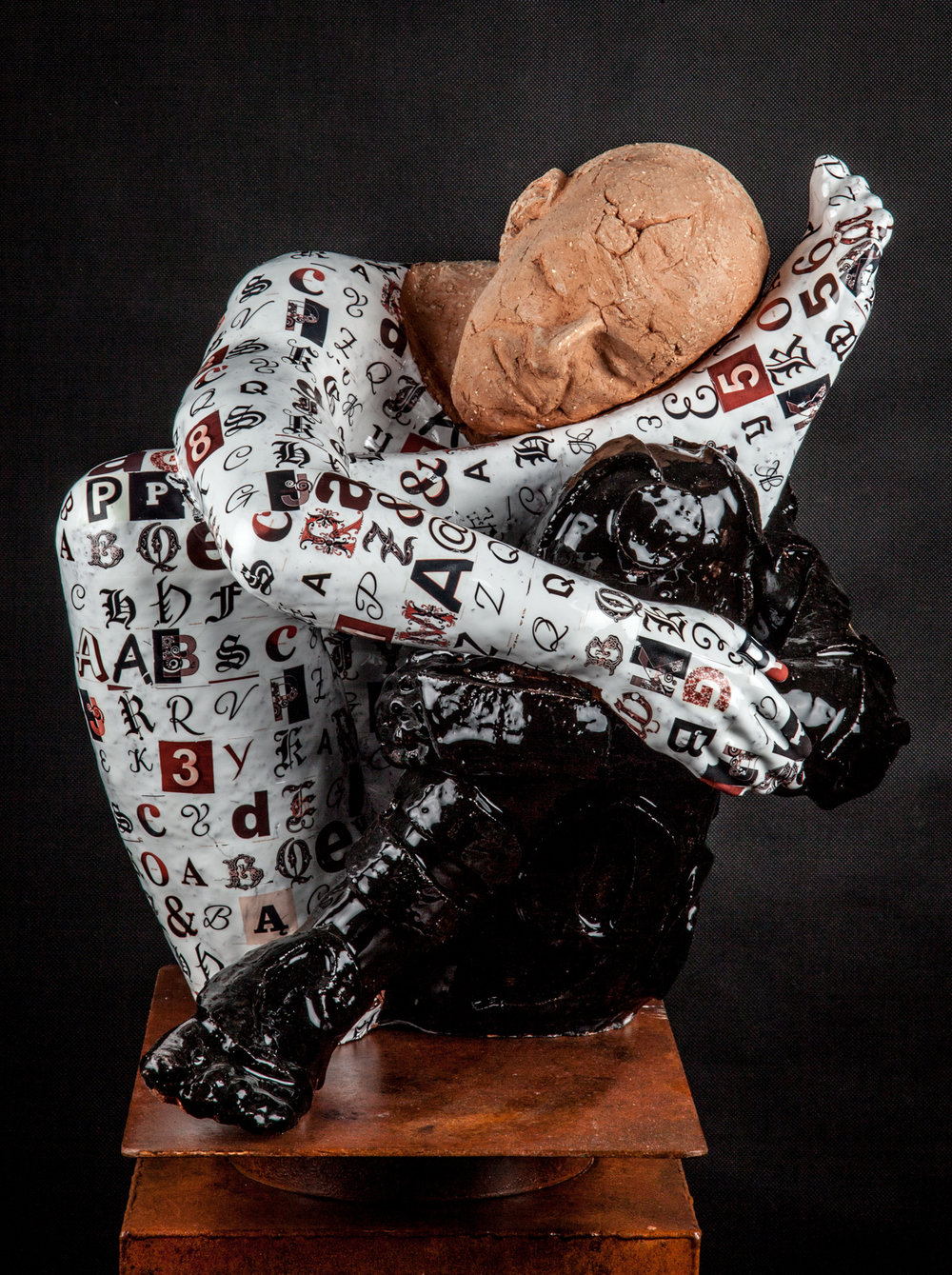 TALKING DREAMS    Ceramic, glazes and steel   60 x 25 x 25""