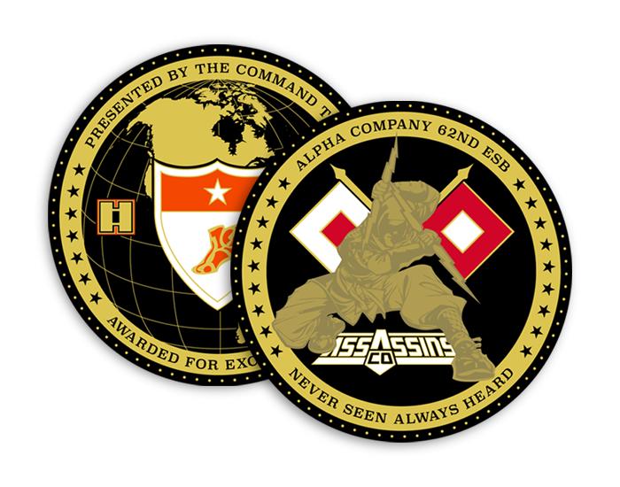 Alpha Company Assassins, Logo and Coin Design.