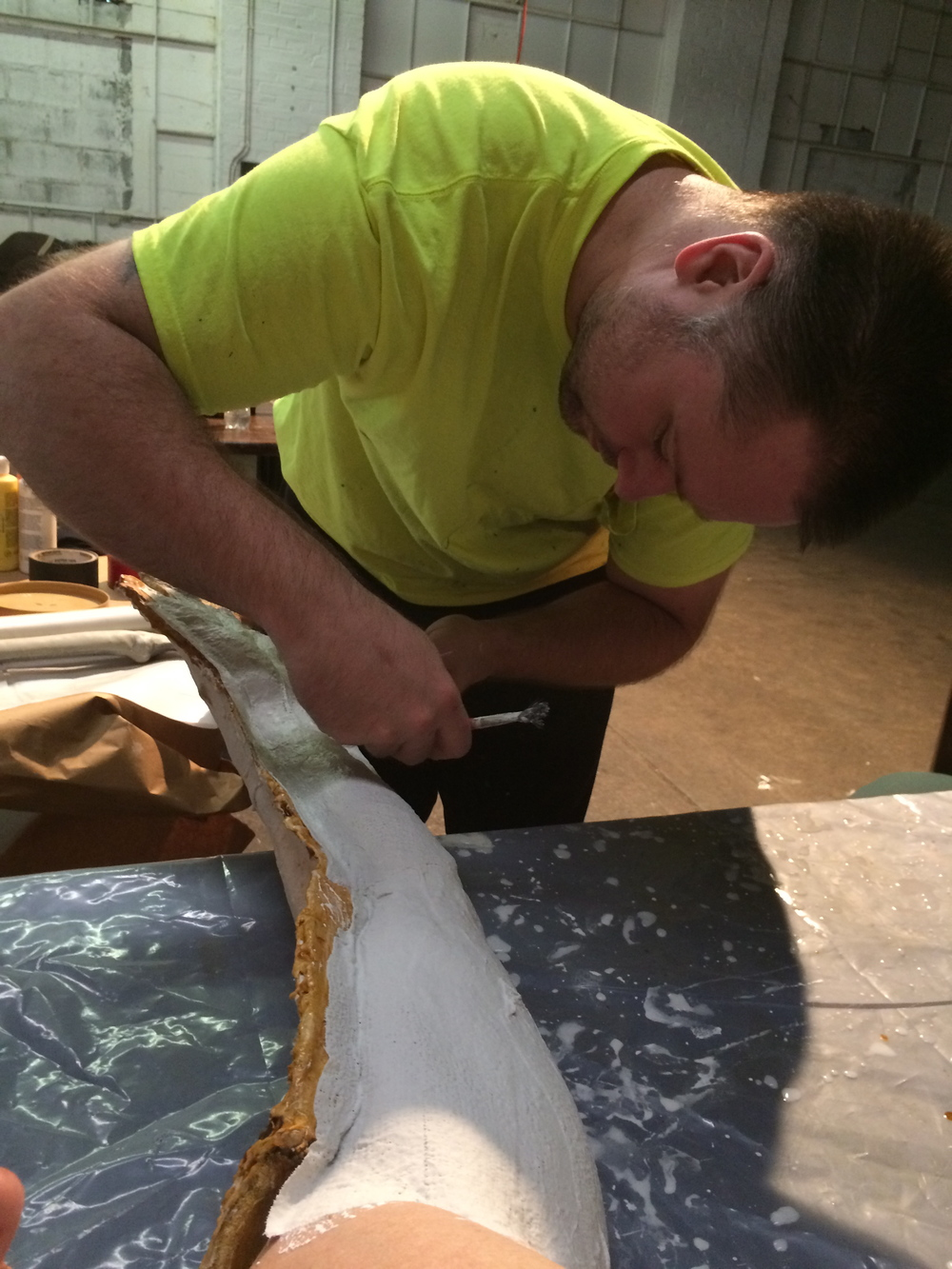 Rick carefully making sure the plaster picks up all the detail.