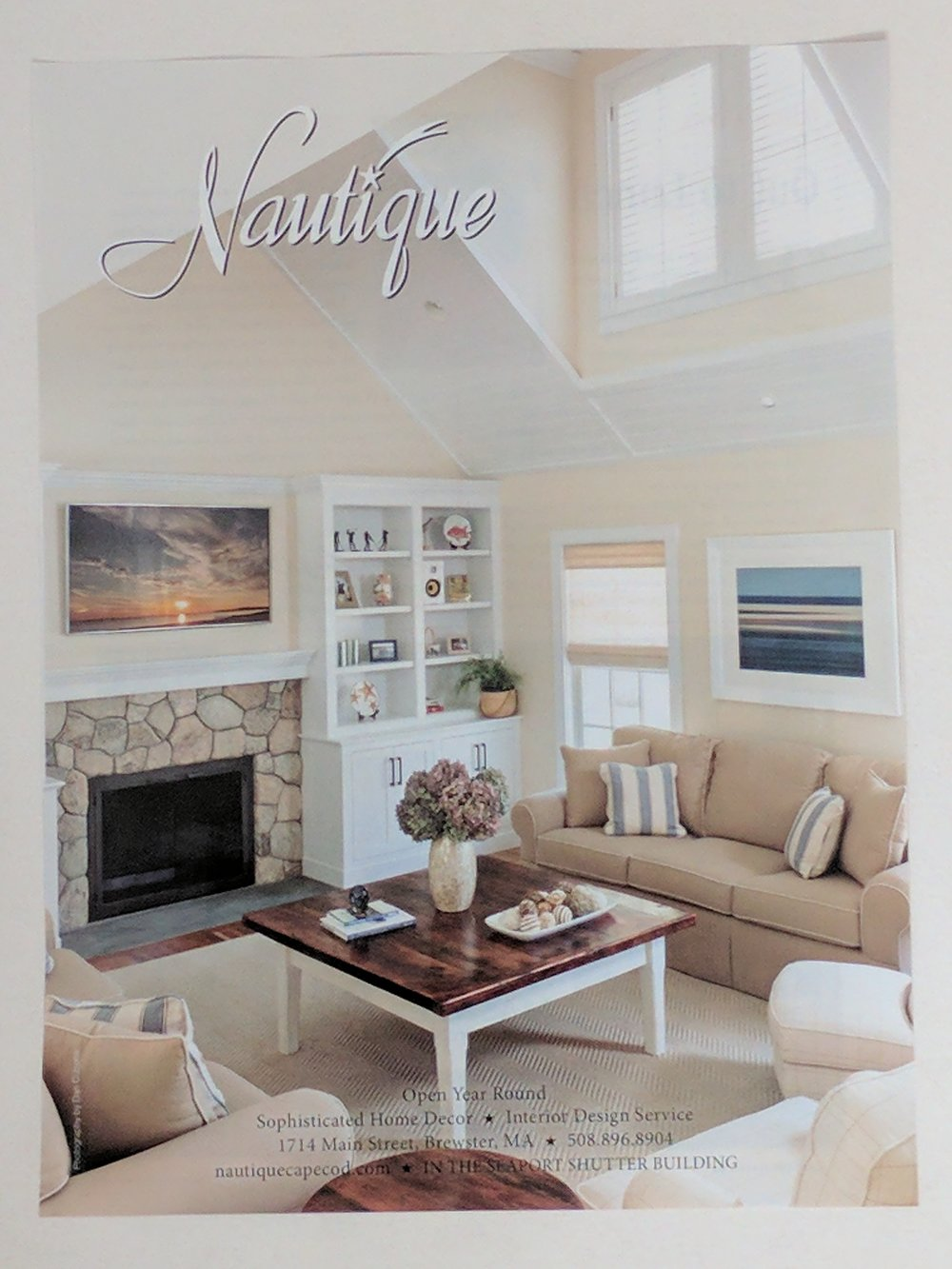 "An ad from Nautique posted in the June 2017 issue of Cape Cod Magazine featuring Heather's ""Beyond the Sea"" to the right"