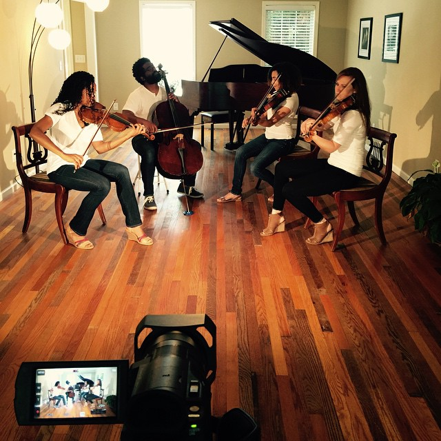 CoRes video shoot in progress!! #stringquartet #Animals #Maroon5 #popcovers #musicvideo