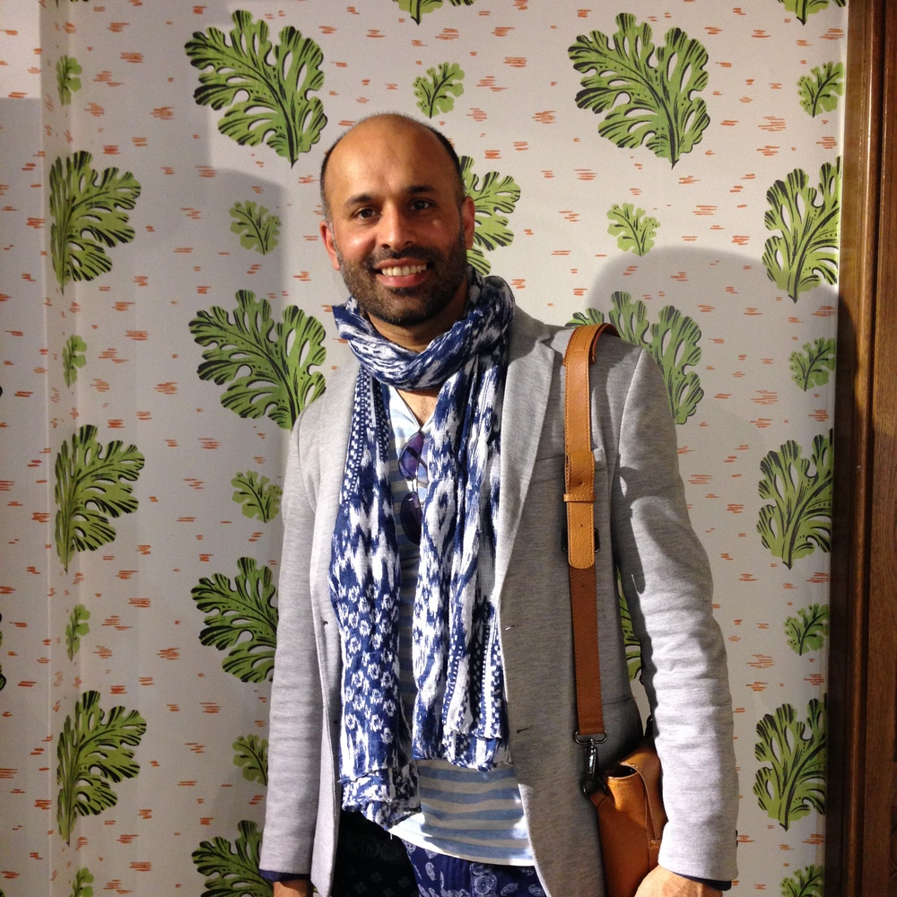 Davinder loving this green tropical leaf design a perfect backdrop to strike a pose.