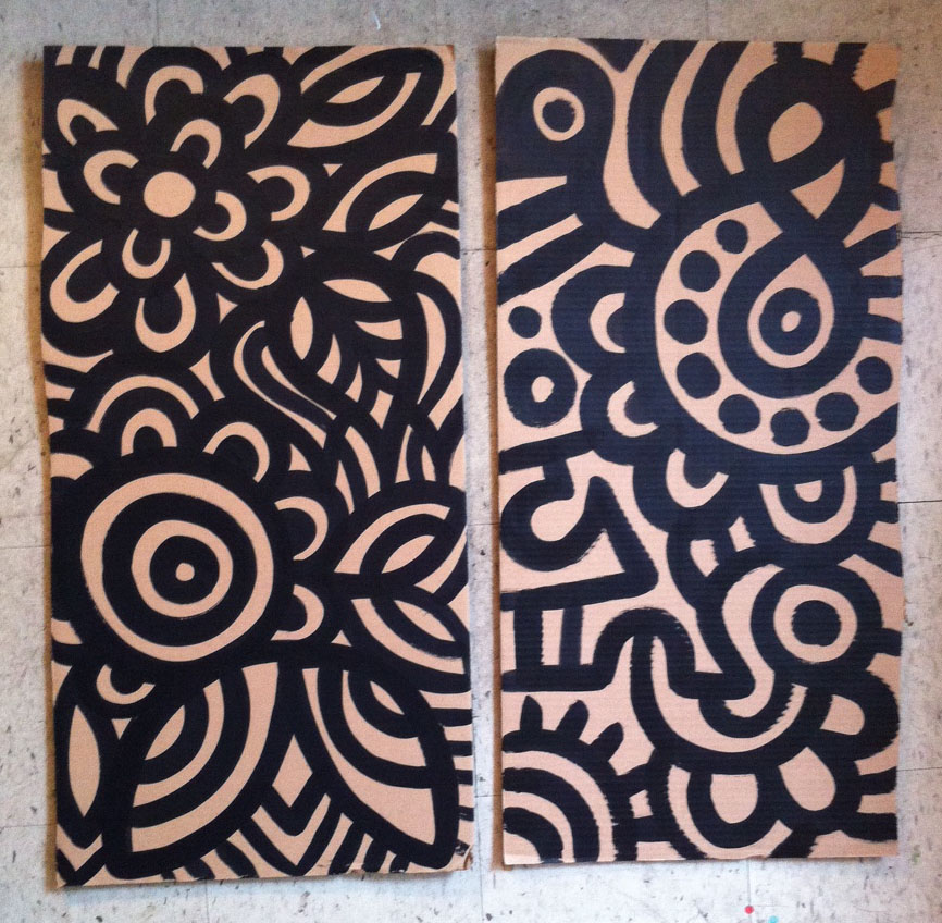 3) 36in x 18in   on Cardboard
