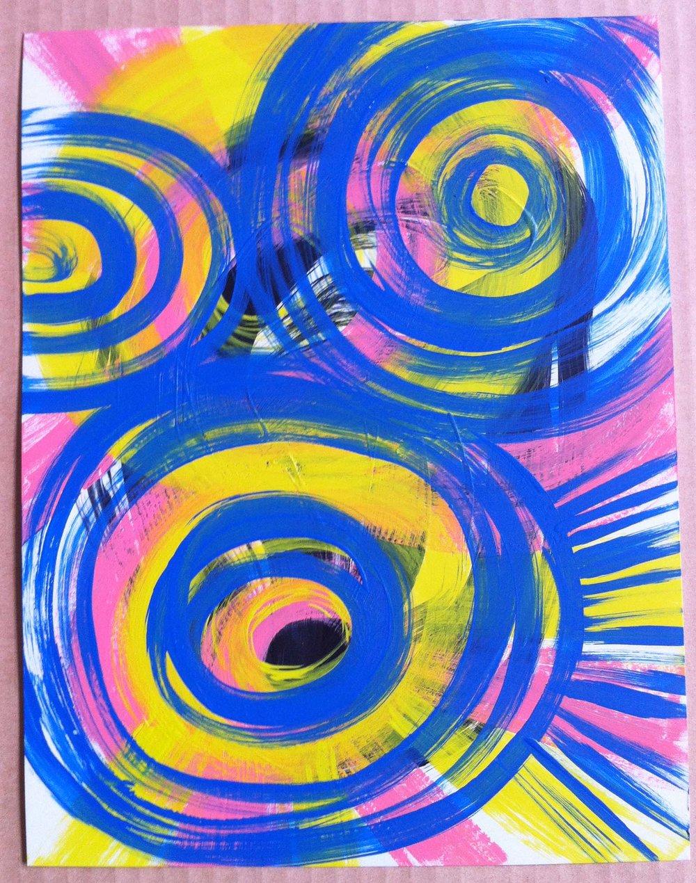 21. Acrylic on metallic paper: small 8.5x11