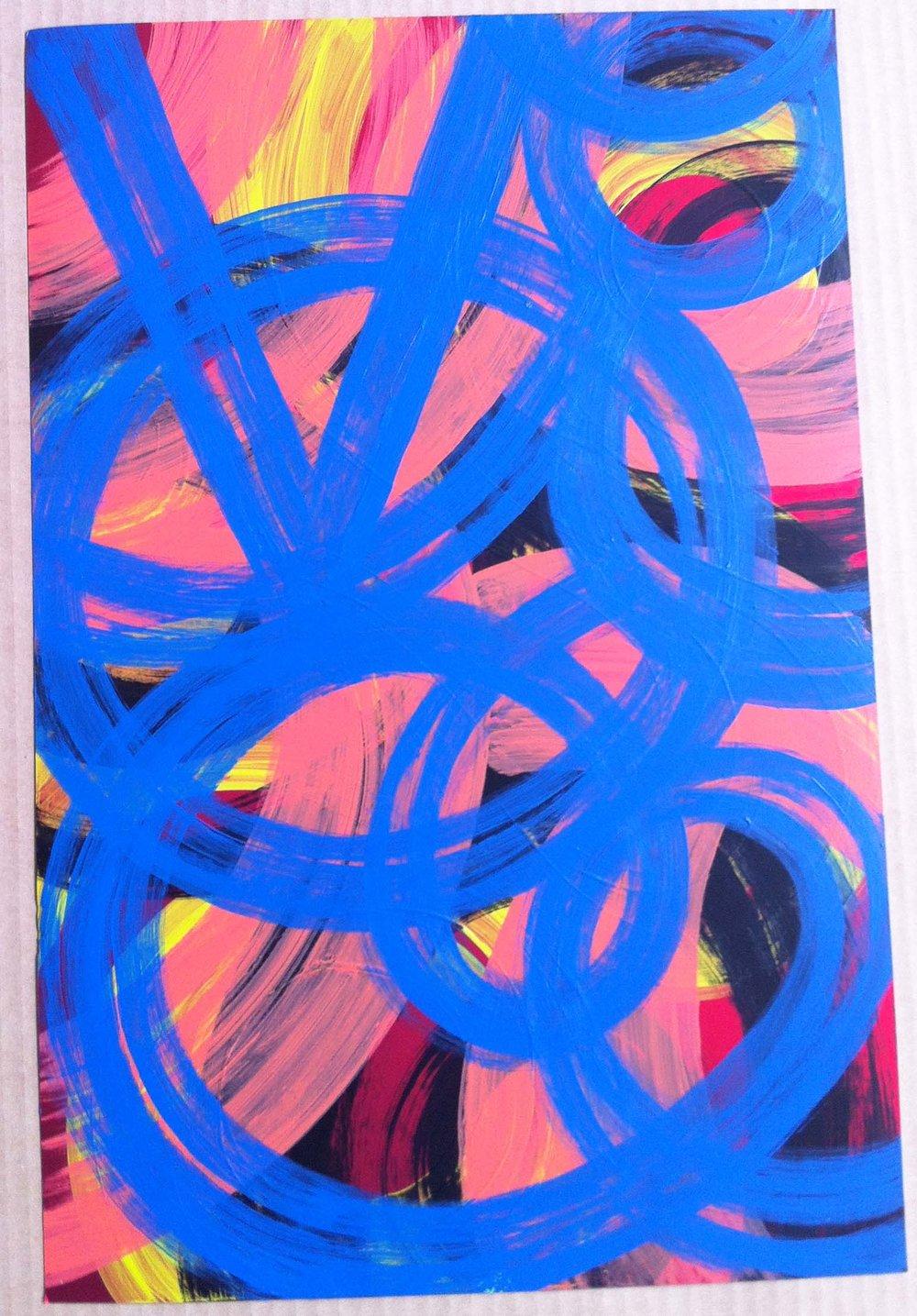 14. Acrylic on metallic paper: 12x19in