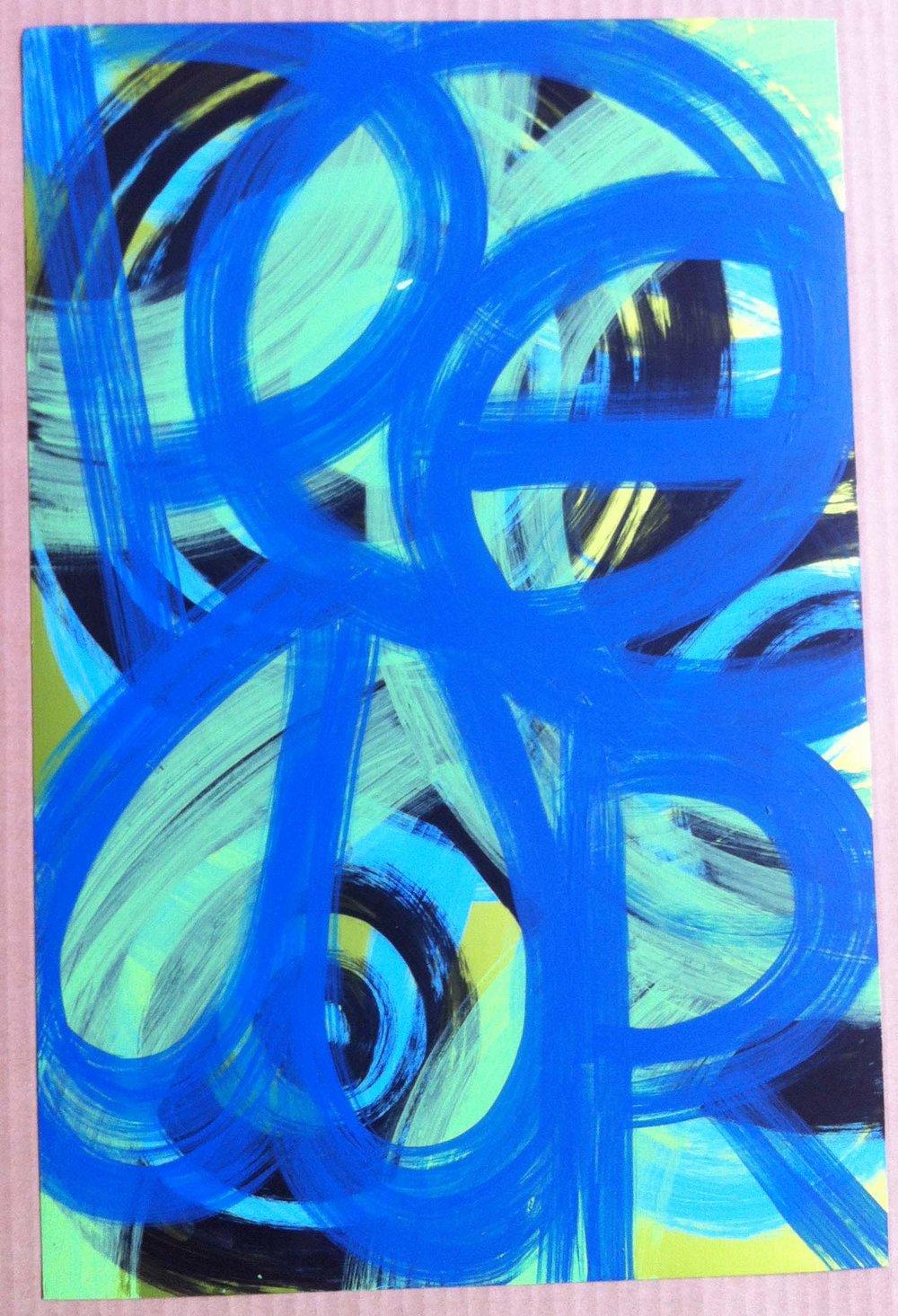 16. Acrylic on metallic paper: 12x19in