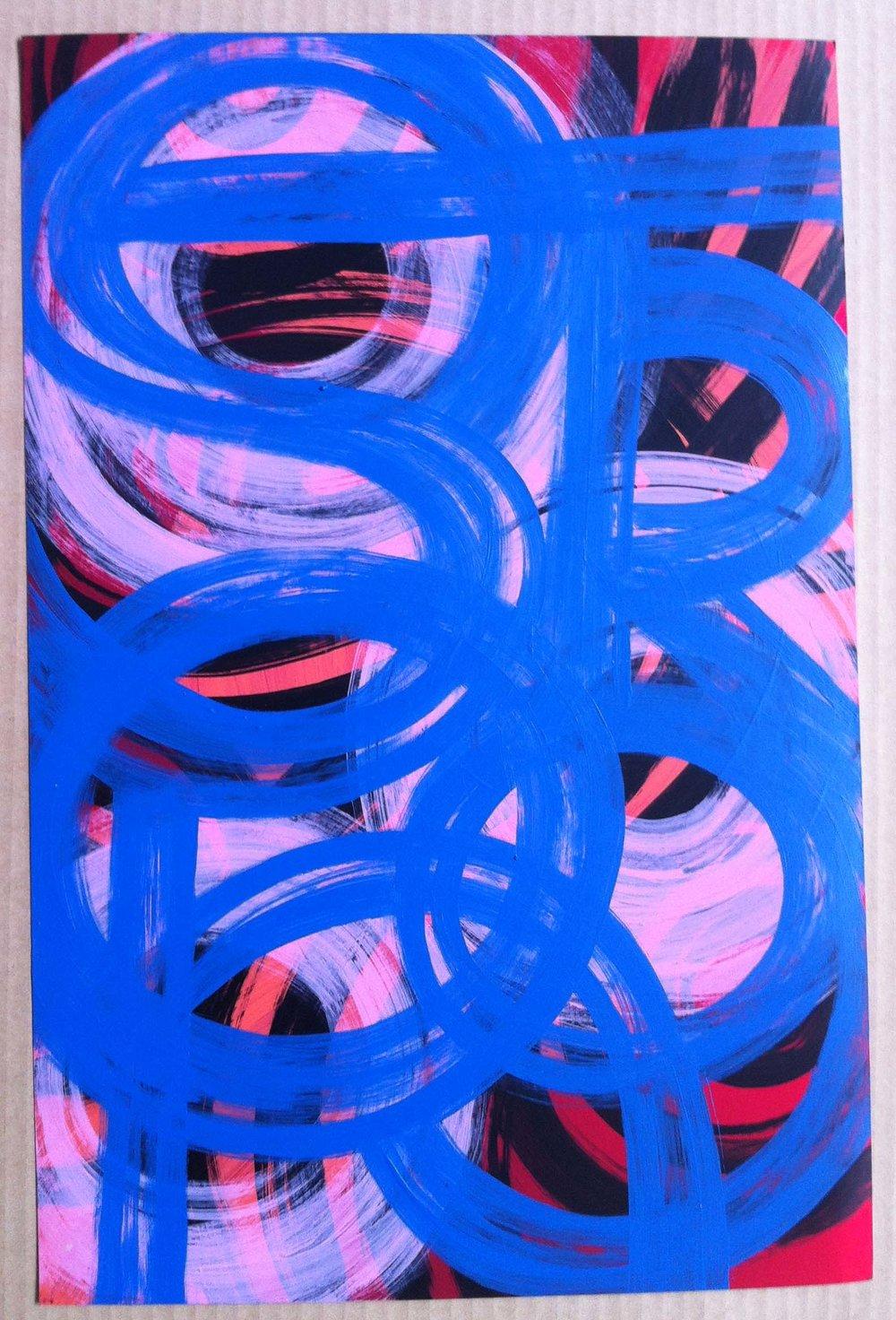 15. Acrylic on metallic paper: 12x19in