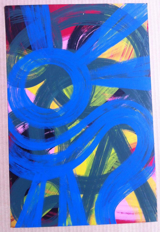 17. Acrylic on metallic paper: 12x19in