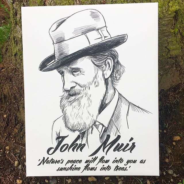 Just in: From our new sketch portrait series, the one and only John Muir. Featuring the following quotes... 'The sun shines not on us but in us' 'Natures peace will flow into you as sunshine flows into the trees' 'Of all the fire mountains which like beacons, once blazed along the Pacific Coast, Mount Rainier is the noblest.' Link in profile... use the code 'NinjaChop' for 10% off storewide.