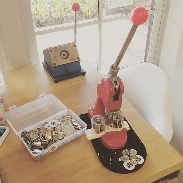 So, how do these things work?  #retro #coworkingspace #buttonmaker
