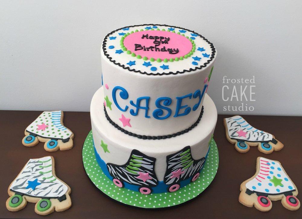 FrostedCakeStudio roller skate cake & cookies.jpg