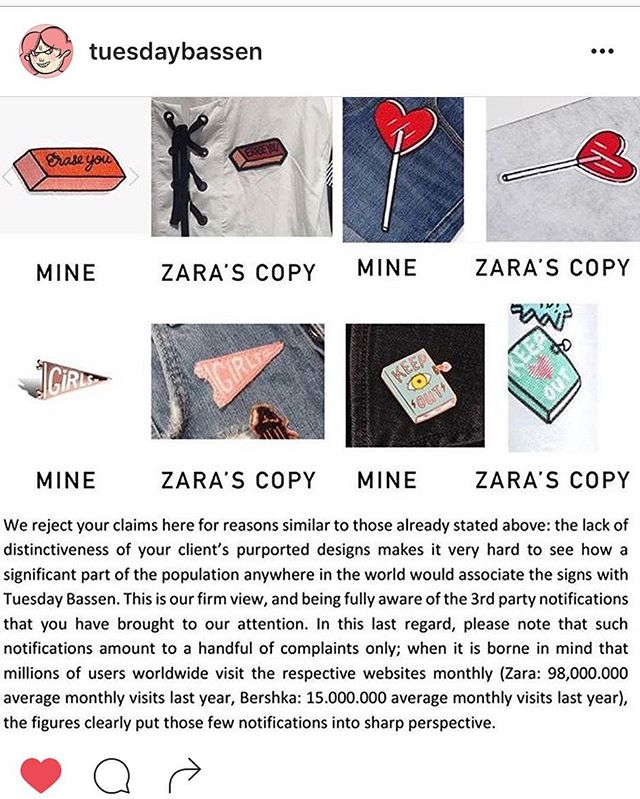 Reposting from @tuesdaybassen  I'm a huge fan of @tuesdaybassen and @zara has been ripping her off and copying her designs. Check the picture above, that's how obvious they are about it.  Read her caption to see how rudely they responded to her lawyer's letter. Hey @Zara. You're total scum  I'll never shop at your stores again. #standupforTuesday #fuckzara