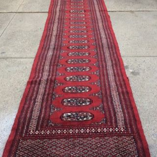 "Does your long cold hallway need a runner?  Vintage Persian Bokhara rug, fringed on both ends. 16' long 31"" wide. $200. Click our PayPal link to purchase, Philadelphia delivery available for a small additional charge or pickup @n3rd_collective"
