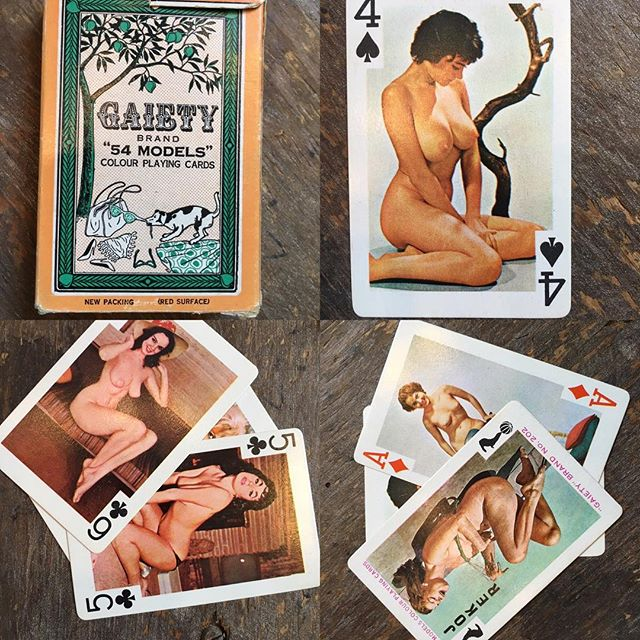 Pin-up playing cards!  Complete set (I counted)  the box is a tiny bit fragile but all cards are awesome and in great shape. From Gaiety #202 $20 includes US shipping.  Click our PayPal link to purchase