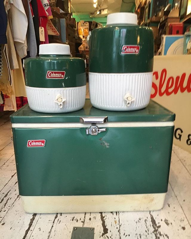 Late 1970's Coleman Cooler set in the shop just in time for heading to the beach to escape the DNC mayhem.  Super clean inside $60 for the whole set. Come and get it. Here til 7