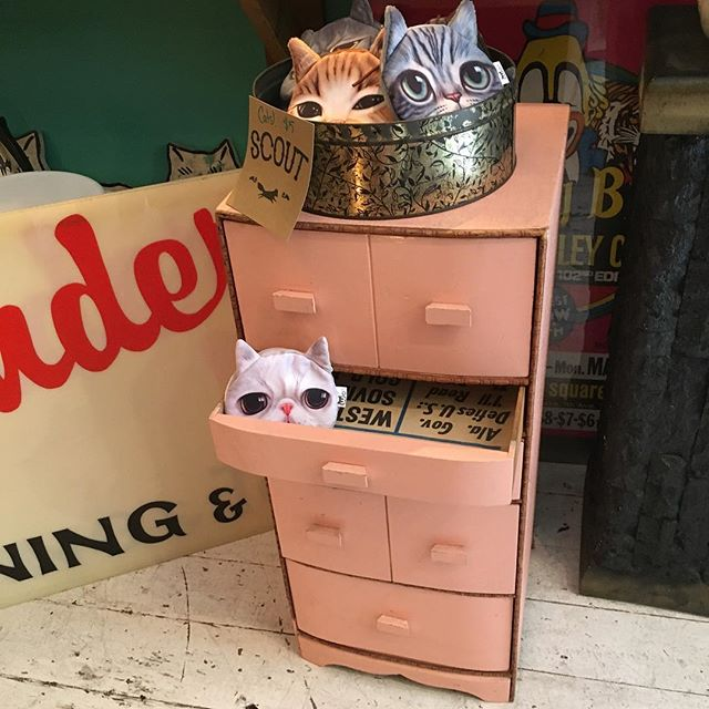 """Adorable cotton candy pink small chest of drawers. The newspaper lining the drawers inside is dated 1963.  28"""" tall  12"""" deep 12"""" wide. Small enough to slide into your bathroom for storage, big enough to be a nice beside table. $60  Click our PayPal link to purchase. Need it shipped?  Give me your zip and I'll get a shipping quote for you"""