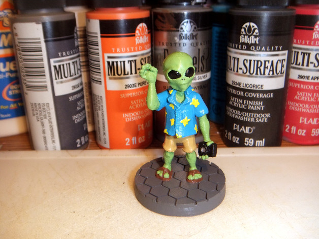 Graylien Tourist  , printed and painted by  Derek Tombrello